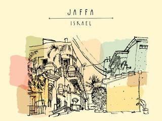 A house in Jaffa (Yafo), Tel Aviv, Israel. Grungy black ink brush outline drawing with lighthouse, houses and trees. Travel sketch. Touristic poster, postcard template or book illustration