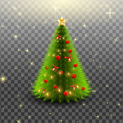 Christmas tree with bells, red balls and star isolated on transparent background. Vector illustration.