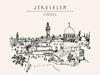 Wailing wal in Jerusalem, Israel. Travel sketch. Hand drawn artistic postcard