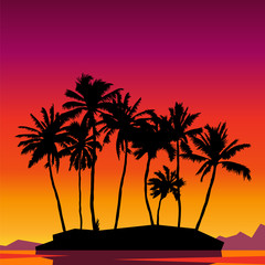 Beautiful sunset scene with palm trees