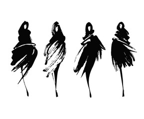 Fashion models sketch hand drawn , stylized silhouettes isolated on white. Vector fashion illustration set.