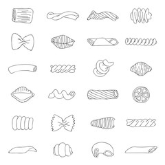 Set of different types of pasta