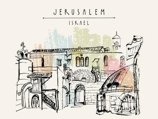 Roofs in Jerusalem, Israel. Travel sketch. Hand drawn touristic postcard, poster, calendar or book illustration. Jerusalem city view postcard