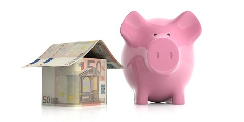 Pink piggy bank and a euros house. 3d illustration