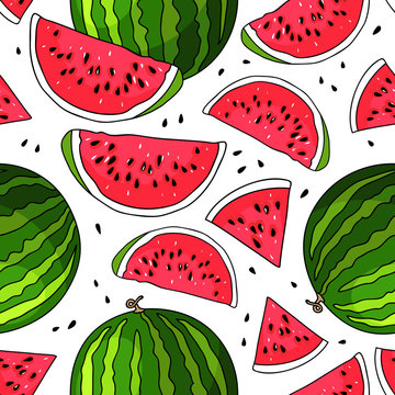 Seamless vector pattern of watermelon