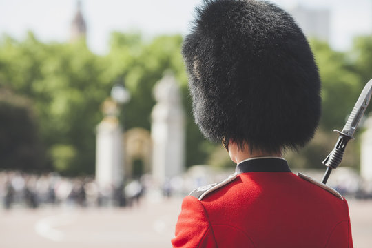 British Royal guard on Buckingham Palace before Queen Elizabeth II and Prince Philip in the Royal Coach will eave go to the State Opening of Parliament in London, England