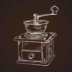 Coffee mill vintage sketch illustration. Hand drawn coffee mill drawing