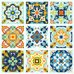 Fotorolgordijn Marokkaanse Tegels Set with Beautiful seamless ornamental tile background.