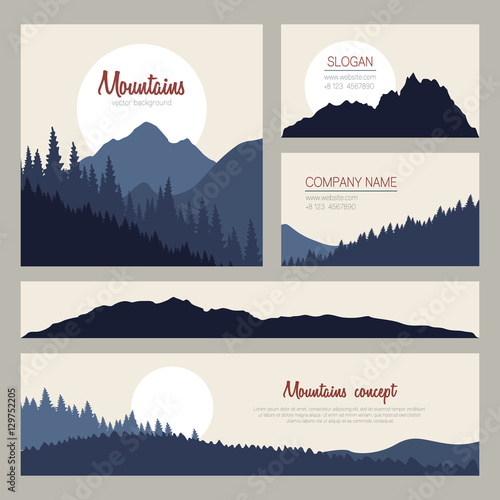 Outdoor cards design with mountains on background set of stylish outdoor cards design with mountains on background set of stylish business card templates nature reheart
