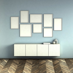 mock up poster frames on blue wall interior background. picture frame composition concept. 3D rendering illustration.