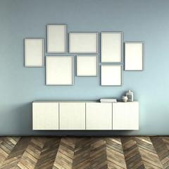 mock up poster frames on blue wall interior background. picture frame composition concept. 3D rendering illustration.