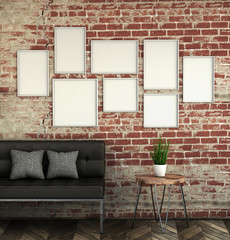 mock up poster frames in brick interior background. picture frame composition concept. 3D rendering illustration.