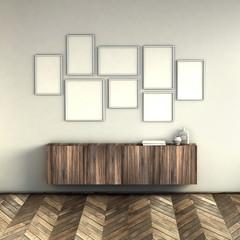 mock up poster frames on light grey wall interior background. picture frame composition concept. 3D rendering illustration.