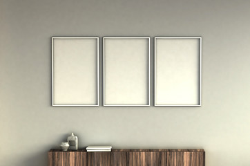 mock up poster frames on light grey wall interior background. 3 pictures composition concept. 3D rendering illustration.