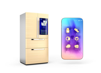 Refrigerator and smartphone isolated on white background. Smart appliances concept. 3D rendering image.