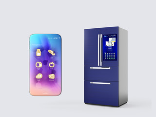 Refrigerator and smartphone isolated on gray background. Smart appliances concept. 3D rendering image.