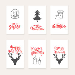 Set of 6 Christmas and New Year greeting cards with hand drawn brush lettering and sketch elements. Holiday invitation.