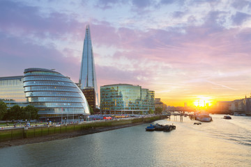 London City Hall with sunset