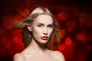 Beauty portrait. Beautiful sensual blonde woman.