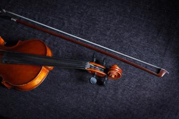Violin music instrument of orchestra closeup