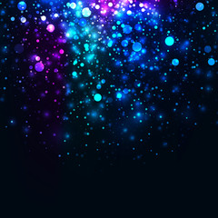 Vector rainbow glowing light glitter background. Galaxy magic lights background. Star burst with sparkles on black background