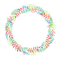 Watercolor floral wreath on white background