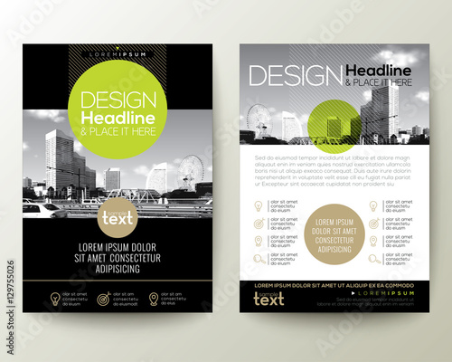 poster flyer pamphlet brochure cover design layout with circle shape graphic elements and space for photo - Green And Gold Color Scheme