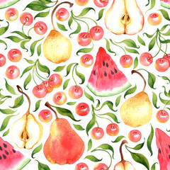 Seamless pattern with watercolor cherries, pears, watermelon on white background