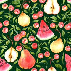 Seamless pattern with watercolor cherries, pears, watermelon on dark green background