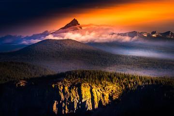 Morning Fog Mt Thielsen at Sunrise Oregon Landscape