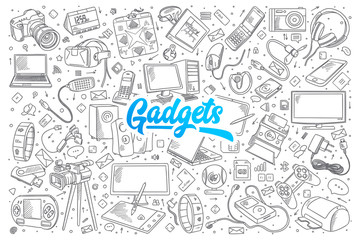 Hand drawn set of gadgets doodles with blue lettering in vector