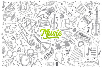 Hand drawn set of music doodles with green lettering in vector