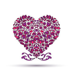 Floral patterns in the shape of a heart on a white background.Ve