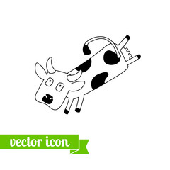 Cow icon vector 3