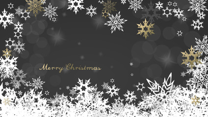 Christmas dark background with golden and white snowflakes and M
