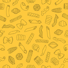 Seamless vector pattern of different types of pasta