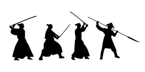 The Set of Samurai Warriors Silhouette with katana sword. Vector illustration.