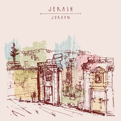 Ancient Roman city of Jerash, Jordan, Middle East. Vintage artistic hand-drawn postcard, poster or book illustration