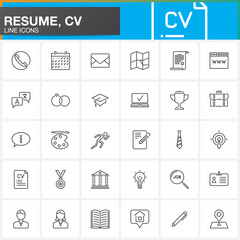 Line Icons set for Resume or CV. Outline vector symbol collection, linear pictogram pack isolated on white, logo illustration