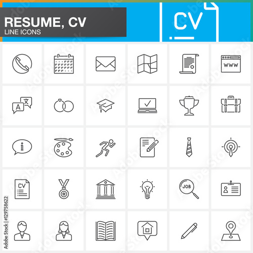 u0026quot line icons set for resume or cv  outline vector symbol collection  linear pictogram pack
