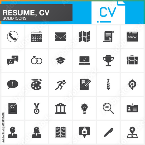 u0026quot vector icons set for resume or cv  modern solid symbol collection  filled pictogram pack