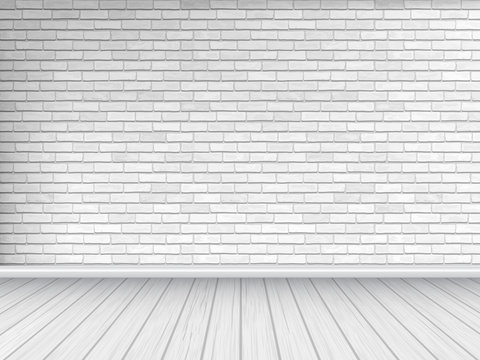White brick wall and wooden floor, architectural background. Vector illustration of interior.