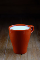 Hot milk in cup.