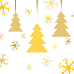 Postcard for Marry Christmas. Gold abstract fir tree with colored snowflakes on white background. Vector illustration