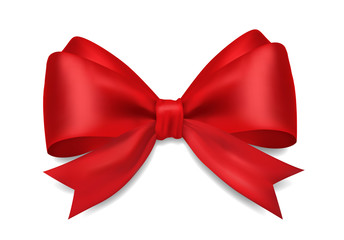 Decorative 3D red bow on white background