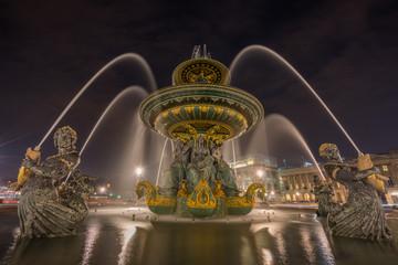 Fontaine Place de la Concorde at night Paris, France