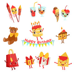 Cute Birthday Party Celebration Things Characters Set