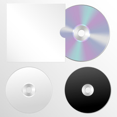 Vector illustration set of isolated blank compact disc CD or DVD. Realistic style.