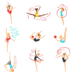 Rhythmic Gymnasts Training With Different Apparatus