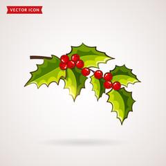 Holly icon. Vector Christmas symbol.